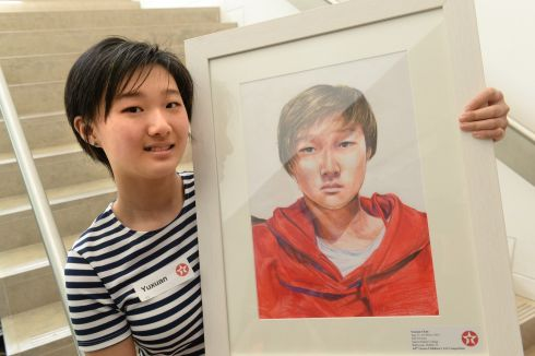YUXUAN CHEN: First prize of €350 went to Yuxuan Chen (13), a pupil at Sancta Maria College, Ballyroan, Dublin, in her category, for a colourful self-portrait. Photograph: Dara Mac Donaill/The Irish Times