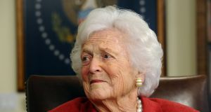 Former First Lady Barbara Bush and wife of Former President George  Bush in his office in Houston, Texas, USA, 29 March 2012. Photograph: EPA/LARRY W. SMITH