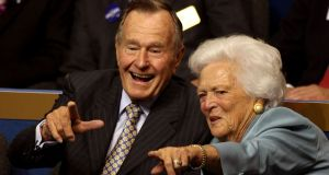 The Bushes had celebrated their 73rd wedding anniversary in January, making them the longest-married couple in presidential history. Photograph:  Justin Sullivan/Getty Images