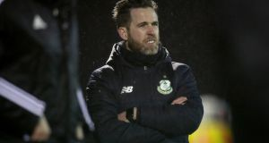 Shamrock Rovers' manager Stephen Bradley during his team's defeat at the Carlisle Grounds. Photograph: Inpho
