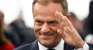 European Council President Donald Tusk before his speech at the European Parliament on Wednesday. Photograph: Patrick Seeger/EPA