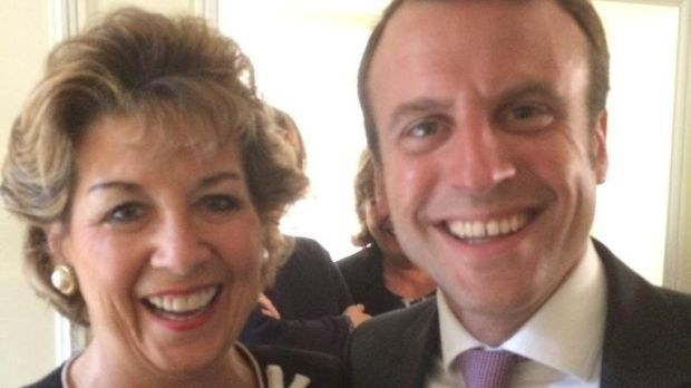 Ireland's Ambassador to the UN, Geraldine Byrne-Nason, and Emmanuel Macron in 2014