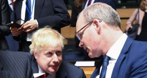 "UK foreign secretary Boris Johnson and Minister for Foreign Affairs and Trade Simon Coveney: ""Our first preference remains for the EU and UK to agree such a close and comprehensive future relationship that no backstop is ever needed."" Photograph: Emmanuel Dunand/AFP/Getty Images"