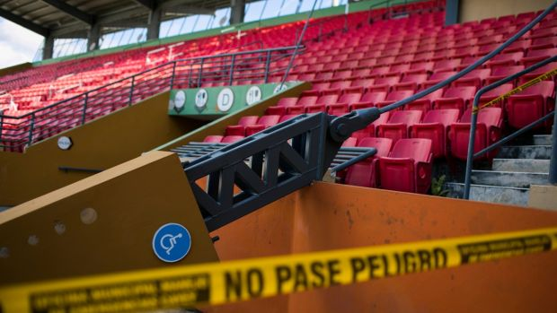 Hurricane damage at Pedro Montanez Municipal Stadium, the home of the Cayey Toritos, which remains closed. Photograph: Dennis M Rivera Pichardo/The New York Times