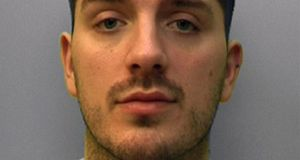 Daryll Rowe (27), was told he must serve at least 12 years in jail after he became the first man in the UK to be found guilty of intentionally setting out to spread the virus. File photograph: Sussex Police /PA Wire from the copyright holder.