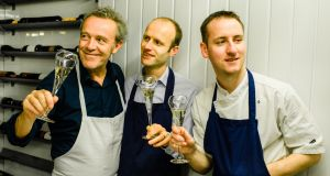 Alain Passard, left, with Alain Kerloc'h and Stephen Toman of Ox Belfast