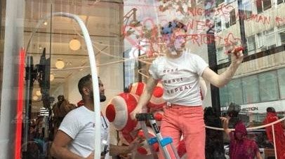 Irish designer Richard Malone working on his Repeal the 8th protest window at Selfridges in London. Photograph: courtesy Richard Malone
