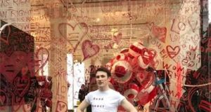 Irish designer Richard Malone outside his Repeal the 8th protest window at Selfridges in London. Photograph: courtesy Richard Malone