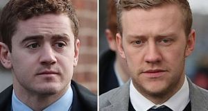 Paddy Jackson and Stuart Olding, who were acquitted of rape following a trial last month. Photograph: Niall Carson/PA Wire