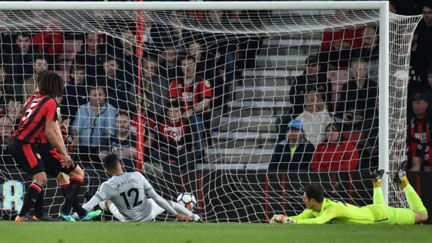 d4de170f43ca Chris Smalling scores Manchester united s opener against Bournemouth.  Photograph  Glyn Kirk AFP