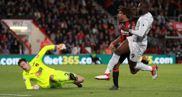 65d396e20b9b Romelu Lukaku scores Manchester United s second against Bournemouth.  Photograph  Ian Walton Reuters