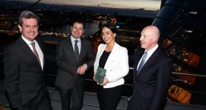 Aimée Madden of Clinishift, winner of the 2018 Bolton Trust / PwC Innovation Awards, pictured with PwC managing partner Feargal O'Rourke (left), Minister for Finance Paschal Donohoe and Bolton Trust chairman John Lauder.