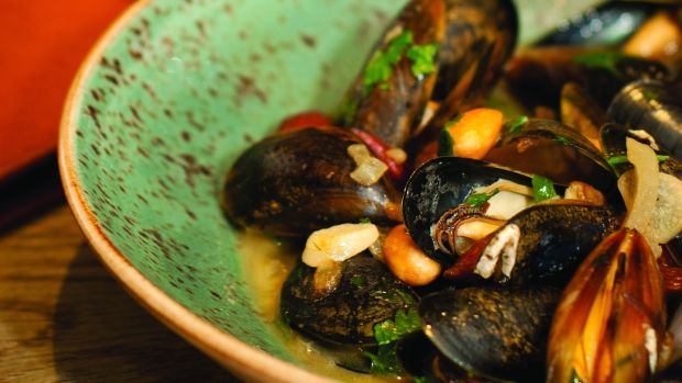 Mussels with almonds. Photograph: Julia Dunin