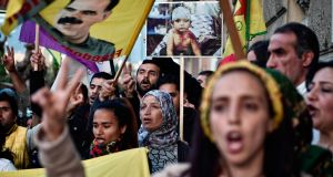 Kurdish people living in Greece  protesting at    EU offices in Athens on April 11th,  They were calling for international intervention for Kurds in the Syrian city of Afrin.  Photograph: Getty Images