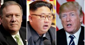 "CIA director Mike Pompeo, North Korean leader Kim Jong-un  and US president Donald Trump. Trump's new-found enthusiasm for meeting a leader he once mocked as ""little Rocket Man"" is bewildering. Photograph: Reuters"