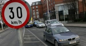 Plans to cut speed limits to 30km/h on almost all residential streets throughout Dublin city and suburbs have been approved by the city council's transport committee. Photograph: Gareth Chaney/Collins.