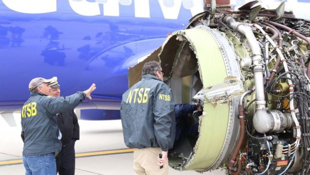 Southwest Airlines: investigators examine the engine that exploded during Jennifer Riordan's flight this week. Photograph: National Transportation Safety Board via AFP/Getty