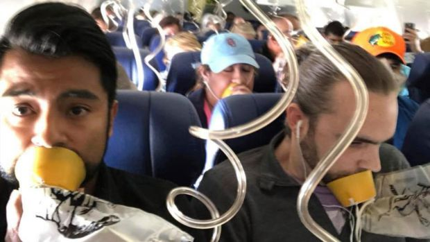 Remembers the crew's advice: aircraft oxygen masks go over your nose as well as your mouth. Lots of passengers involved in this week's incident only put theirs over their mouths. Photograph: Marty Martinez via AP