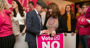 Michael Healy-Rae and Caroline Simons during the launch of the  'Love Both' campaign in Dublin this week. Photograph: Gareth Chaney/Collins