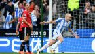Aaron Mooy celebrates a vital goal  for  Huddersfield Town against Manchester United in October. The subsequent victory ended a poor run for the newly-promoted side. Photograph:  Gareth Copley/Getty Images
