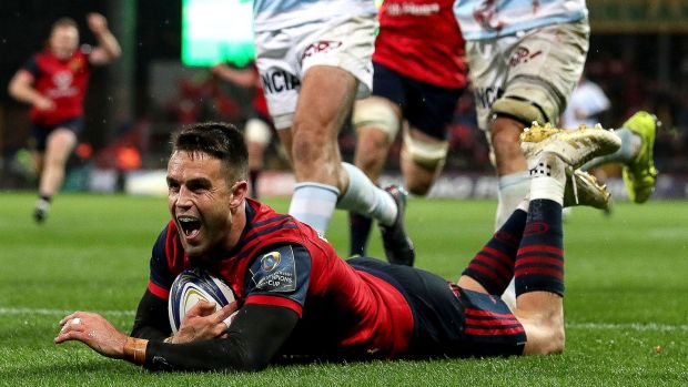 Conor Murray celebrates scoring a try against Racing 92 in the Champions Cup second round victory at Thomond Park. Photograph: Dan Sheridan/Inpho
