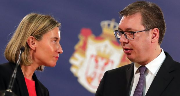 European Union foreign policy chief Federica Mogherini and Serbian president Aleksandar Vucic in Belgrade on Thursday. Photograph: Koca Sulejmanovic/EPA