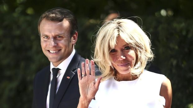 First couple: Emmanuel Macron with his wife, Brigitte. Photograph: Yorgos Karahalis/Bloomberg via Getty