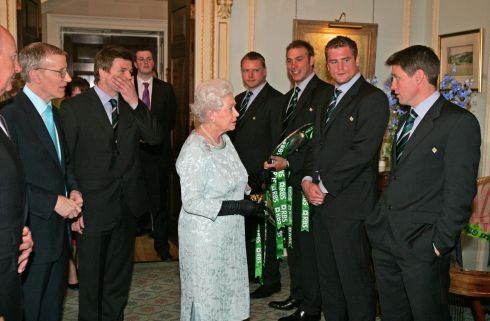 Queen Elizabeth meeting  Ronan O'Gara and other members of the Irish Rugby Team   at Hillsborough Castle today  where she attended a Co-Operation Ireland reception along with the President Mrs McAleese, and members of the Irish Rugby team  Photograph: Frank Miller  /THE IRISH TIMES  7.5.09