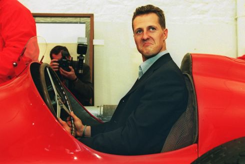 Formula One racing driver Michael Schumacher in the driving seat of an Alfa Romeo 159 at the RDS in Dublin  PHOTOGRAPH - FRANK MILLER 29.3.00