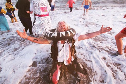 ALL WASHED UP.....Mr Gerry Jago during the 16th annual Bray Charity Sea Swim in the Co Wicklow town yesterday.   PHOTOGRAPH - FRANK MILLER 1.1.98