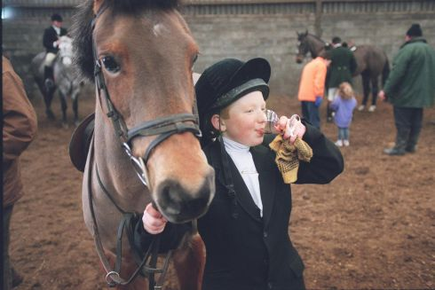 Thomas Skelly enjoying refreshments before the start of the Ballymacad Hunt at Crossdrum, Co Meath on Saturday. PHOTOGRAPH - FRANK MILLER 2.1.99