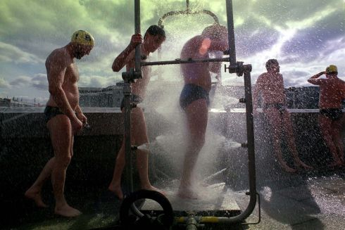 Showering after the annual ESB Liffey Swim  PHOTOGRAPH - FRANK MILLER 31.8.96
