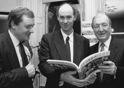 "21/11/1991 - The Taoiseach Mr Charles Haughey launched the book "" Second Sight "" a collection of one hundred and fifty photographs taken by members of the Press Photographers Association of Ireland and published by The Rehabilitation Institute,  Also in the picture are The Irish Times Photographers and executive members of the PPAI (left) Joe St Leger and Frank Miller, who with Cyril Byrne of The Irish Press coordinated the book.  Photograph: Paddy Whelan / THE IRISH TIMES ."