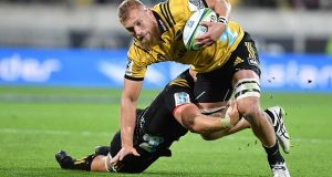 Brad Shields in action for the Hurricanes against the Chiefs last month. Photograph: Mark Tantrum/Getty Images