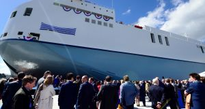 The launch of the MV Celine the World's largest sea ro- ro vessel in Dublin by Taoiseach Leo Varadkar on Friday.Photograph: Cyril Byrne/The Irish Times