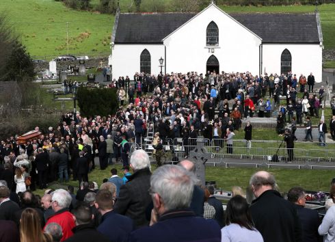 MAJOR CROWD: The coffin of Big Tom McBride is removed from Saint Patrick's Church in a shot showing the scale of the attendance. Photograph: Brian Lawless/PA Wire