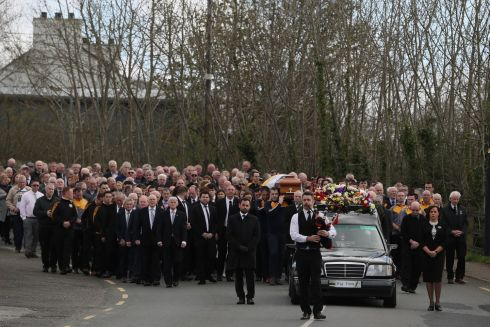 SAYING GOODBYE: The funeral cortege of Big Tom McBride makes it way to Saint Patrick's Church. Photograph: Brian Lawless/PA Wire
