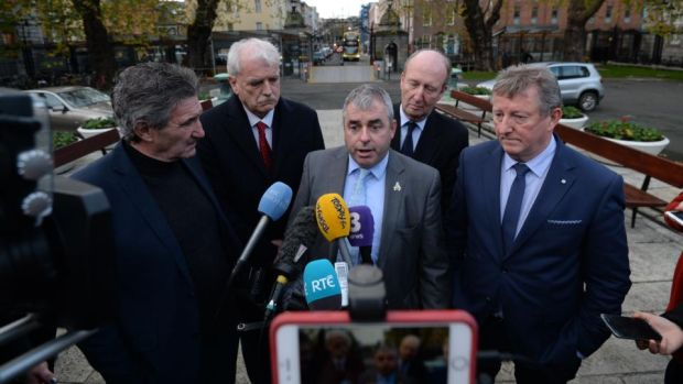 "Members of the Independent Alliance John Halligan, Finian McGrath, Kevin ""Boxer"" Moran, Shane Ross and Michael Fitrzmaurice. Photograph: Alan Betson/The Irish Times"