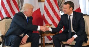 "US president Donald Trump and French president Emmanuel Macron: ""It's not about friendship or being buddies  . . . Macron thinks he can say things to Trump, on climate change, on the Iran nuclear deal, that no one else can."" File photograph: Mandel Ngan/AFP/Getty Images"