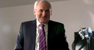 'I agreed to meet you on the Good Friday Agreement, we've done that, so I'm finished,' Ahern says, before removing his microphone and walking off camera.