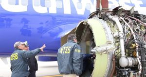 The US Federal Aviation Administration said it is set to issue new guidelines to inspect jet engines like the one that ruptured during a recent Southwest Airlines flight. Photograph: AFP/Getty Images