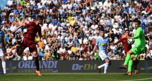 Roma's Czech forward Patrik Schick  heads the ball  past Spal goalkeeper Alex Meretto to score his side's third goal in the  Serie A football match  at the Paolo Mazza Stadium in Ferrara. Photograph: Miguel Medina/AFP/Getty Images