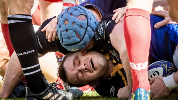 Leinster's Scott Fardy kisses Cian Healy after the prop's score. Photograph: Morgan Treacy/Inpho