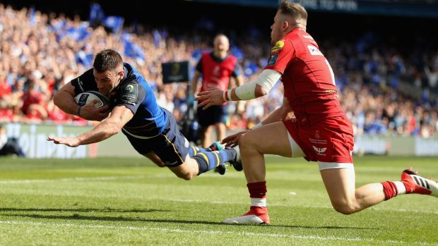 Fergus McFadden dives over to score the third try. Photograph: David Rogers/Getty Images