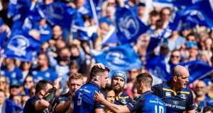 Leinster players congratulate try scorer James Ryan/Morgan Treacy