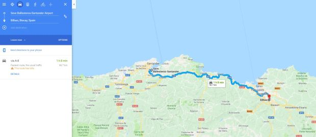 The journey from Santander Airport to Bilbao is quickest via bus as the train route goes south before going back north. Photo: Google Maps screenshot