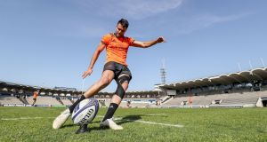 Conor Murray practices his goal-kicking in Bordeaux. Photograph: Dan Sheridan/Inpho