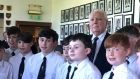 Former INM majority shareholder  Tony O'Reilly and pupils from Belvedere College choir at an event held in his honour at the Old Belvedere Rugby Club on Saturday. Photograph: Conor Pope
