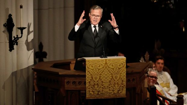 Former Florida governor Jeb Bush speaks during a funeral service for his mother, former first lady Barbara Bush, in Houston, Texas, the US. Photograph: AP Photo/David J Phillip, Pool