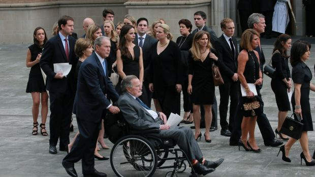 Former US presidents George HW Bush and George W Bush attend the funeral of former first lady Barbara Bush, in Houston, Texas, the US. Photograph: Richard Carson/Reuters